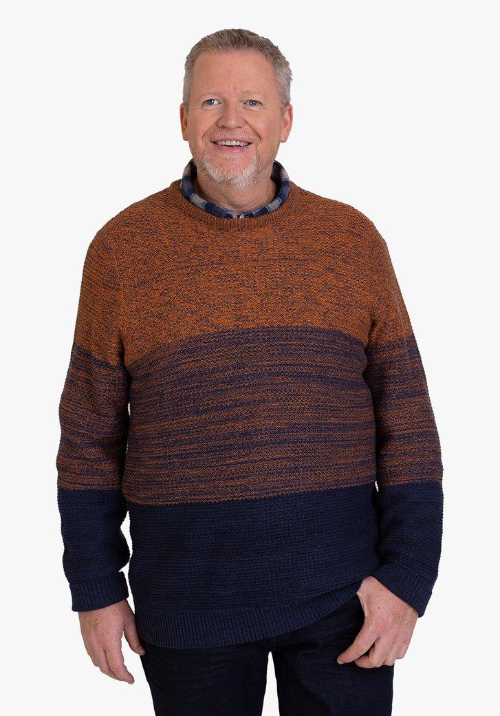 Pull en tricot orange-bleu