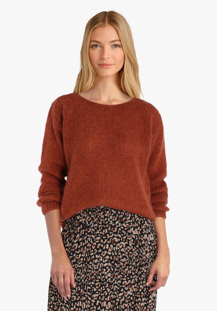 Pull en tricot orange-marron