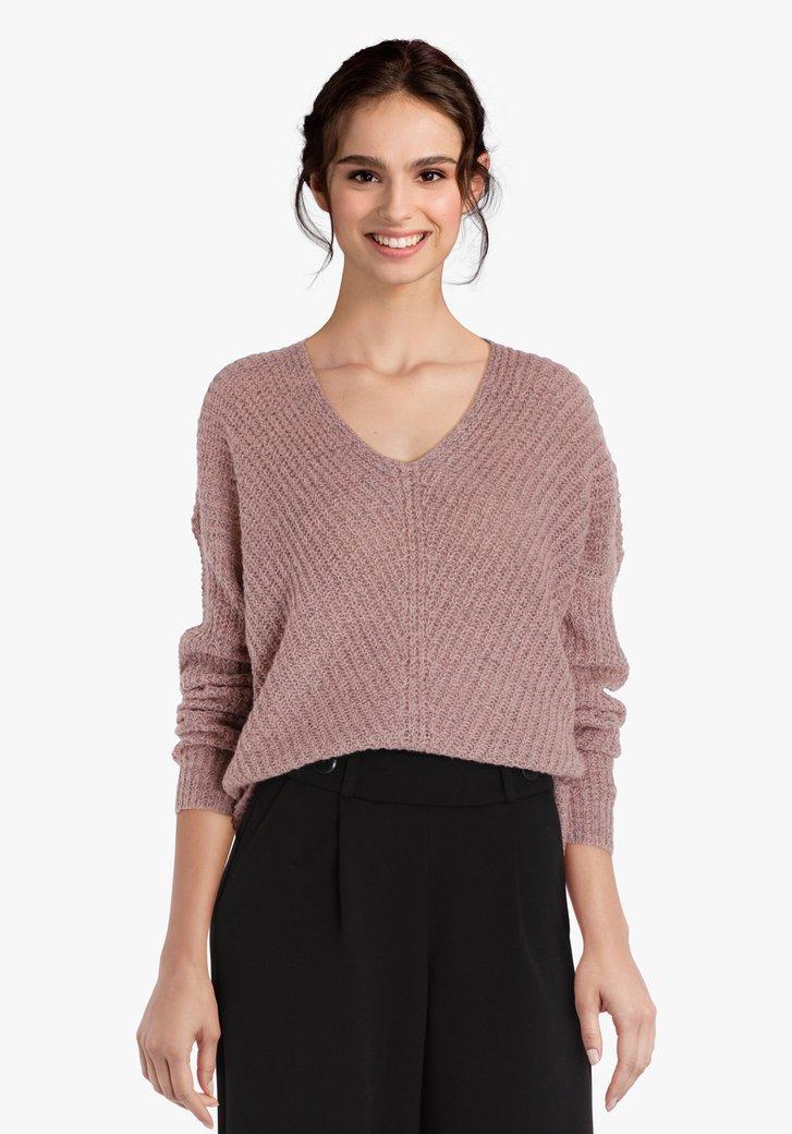 Pull en tricot rose