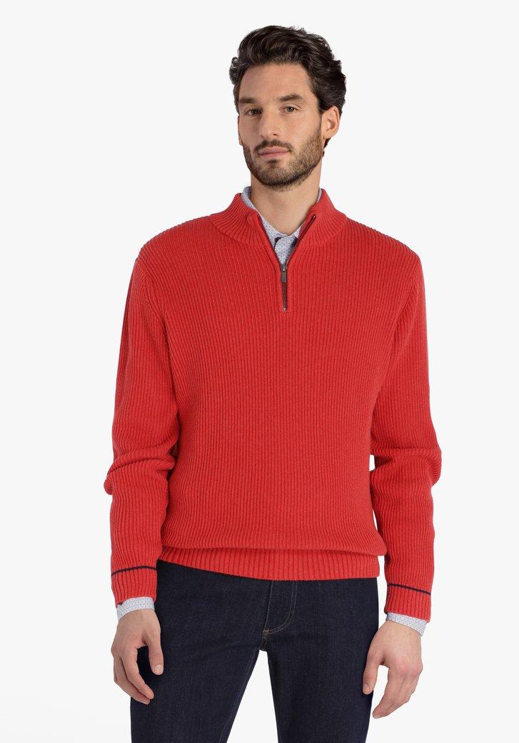 Pull en tricot rouge orange avec tirette courte