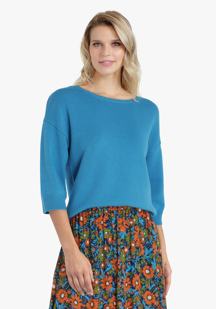Pull en tricot turquoise à manches 3/4