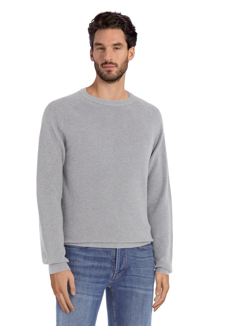 Pull gris clair à col rond en coton côtelé