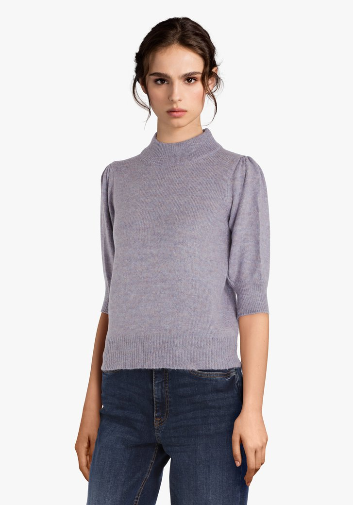 Pull lilas avec col et manches 3/4