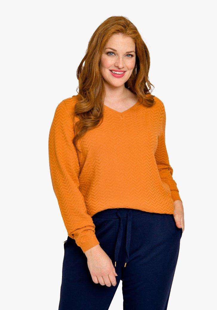 Pull orange-marron à motif