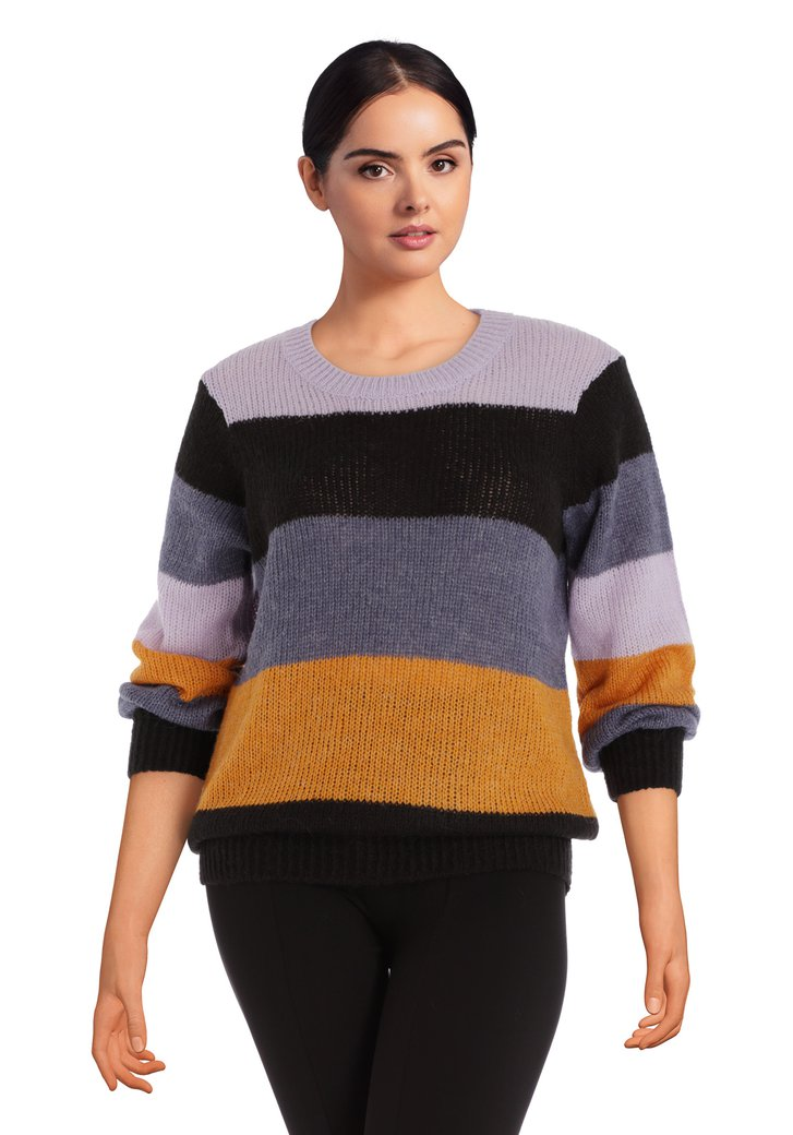 Pull tricoté color blocking