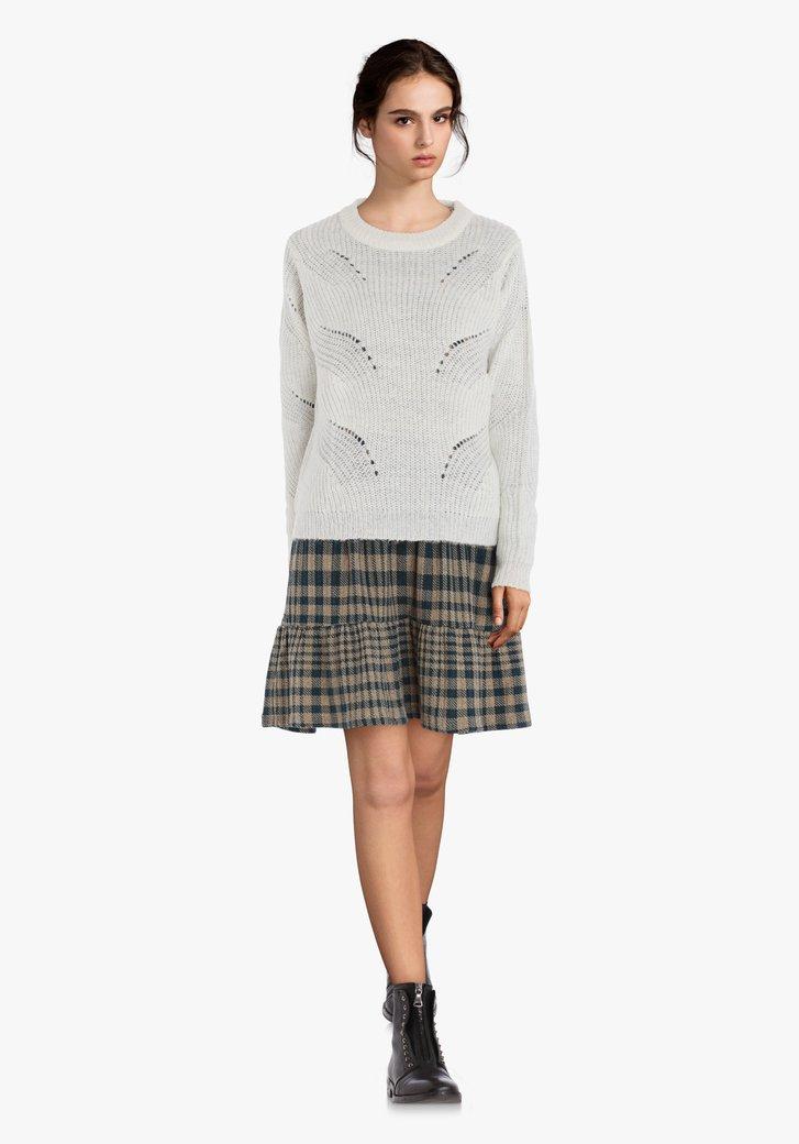 Pull tricoté écru