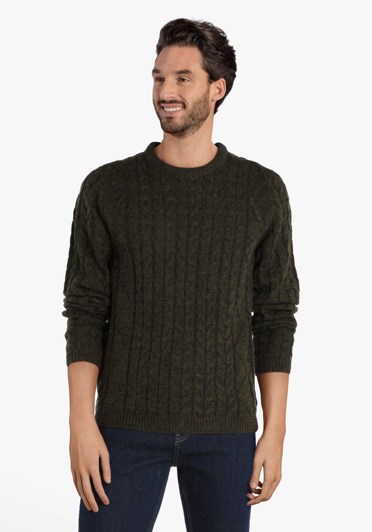 Pull tricoté en kaki