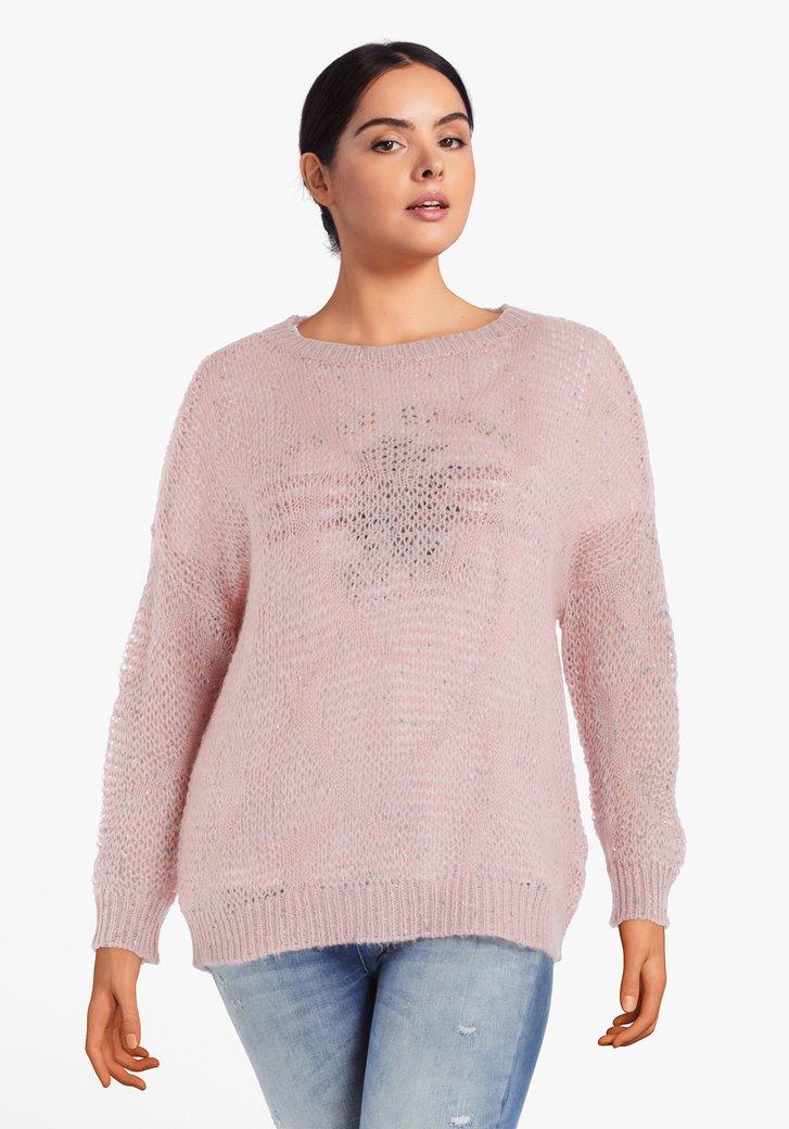 Pull tricoté rose clair