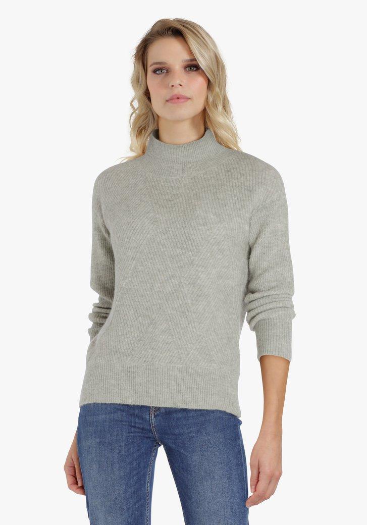 Pull vert menthe à motif tricoté