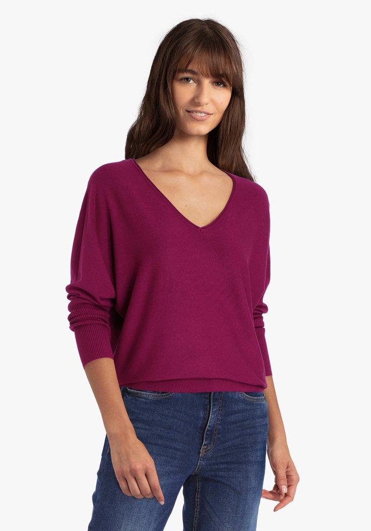 Pull violet avec manches chauve-souris