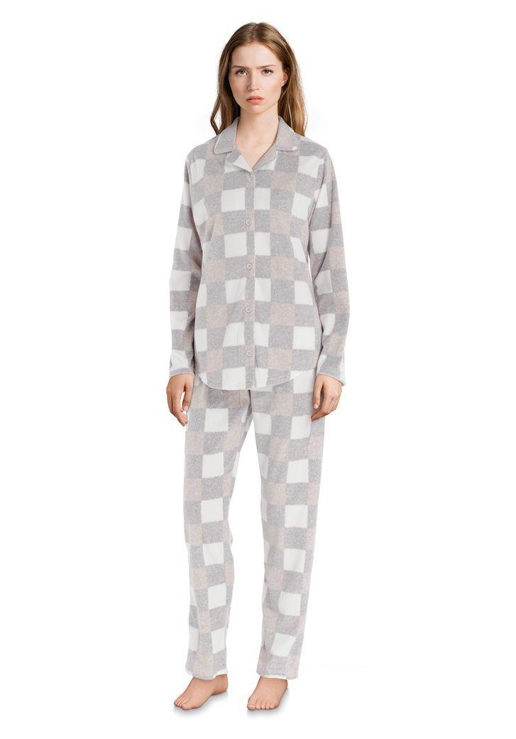 Pyjama à carreaux gris pâle