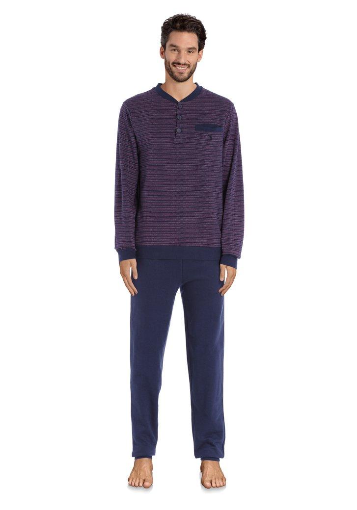 Pyjama bleu à pois rouges