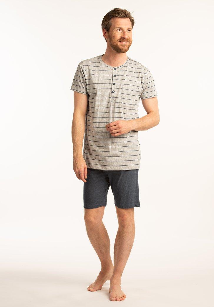 Pyjama bleu-gris à rayures -manches/jambes courtes