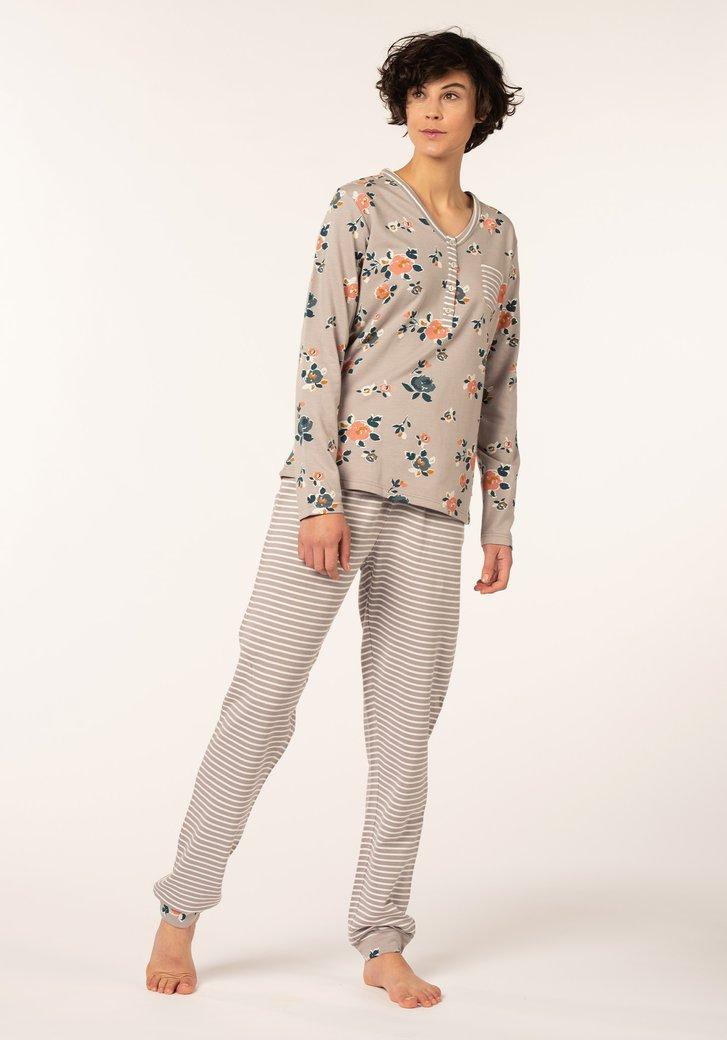 Pyjama gris à fleurs et à rayures