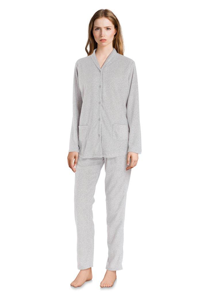 Pyjama gris pâle avec points dorées