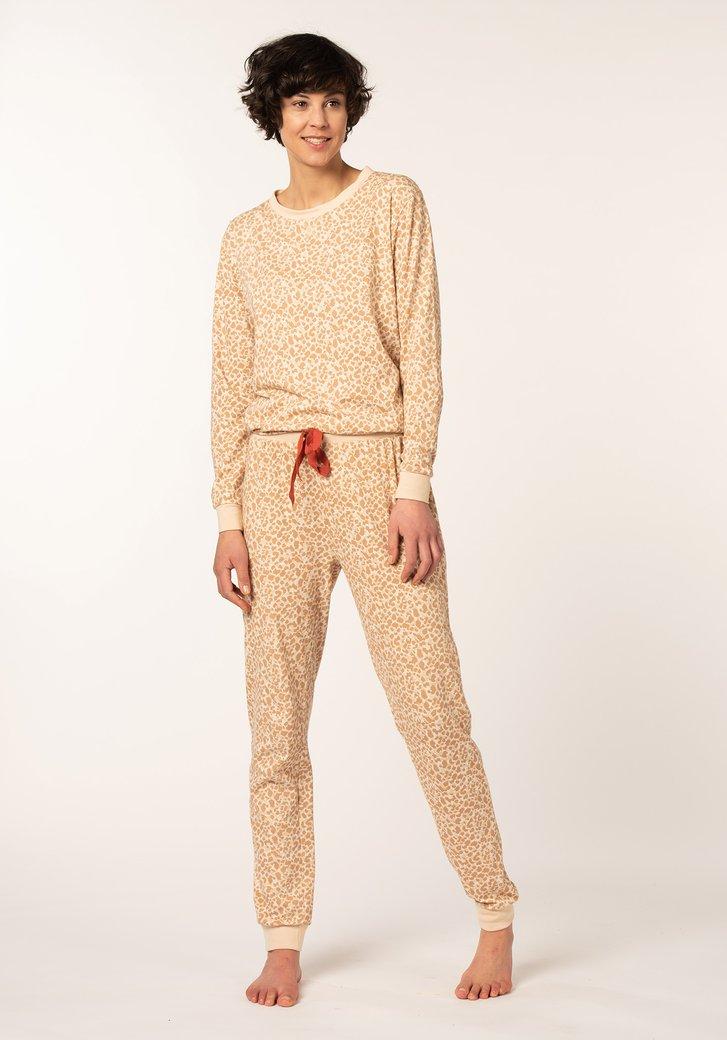 Pyjama taupe avec imprimé panthère