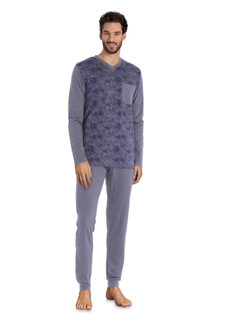Pyjama violet avec imprimé à feuilles