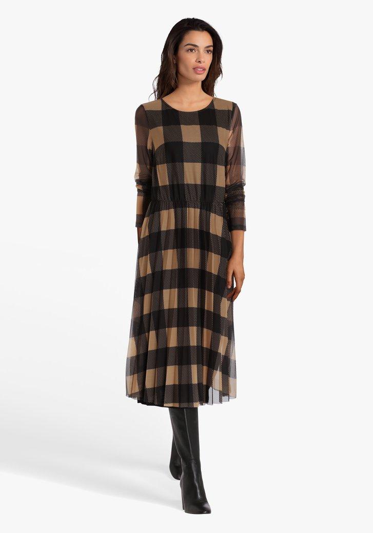 Robe à carreaux brun clair-noir