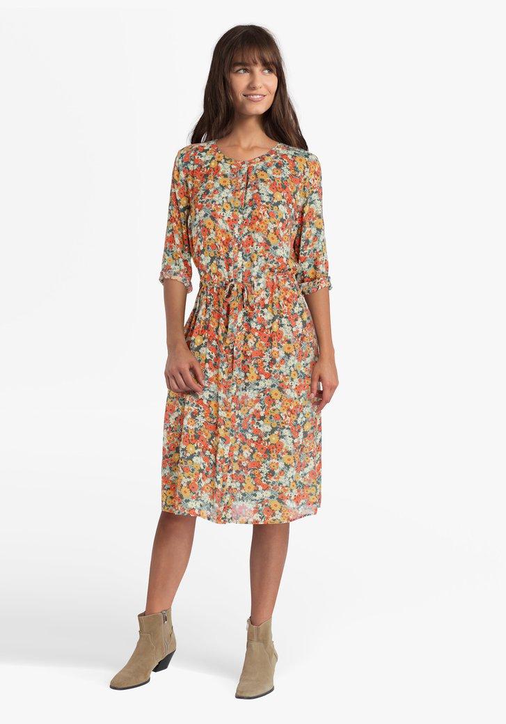 Robe avec imprimé de fleurs vert-orange