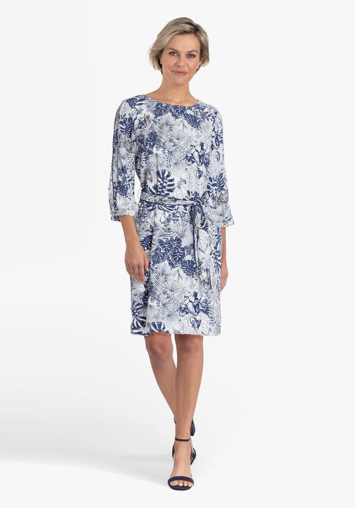 Robe blanche à imprimé de feuilles bleu marine