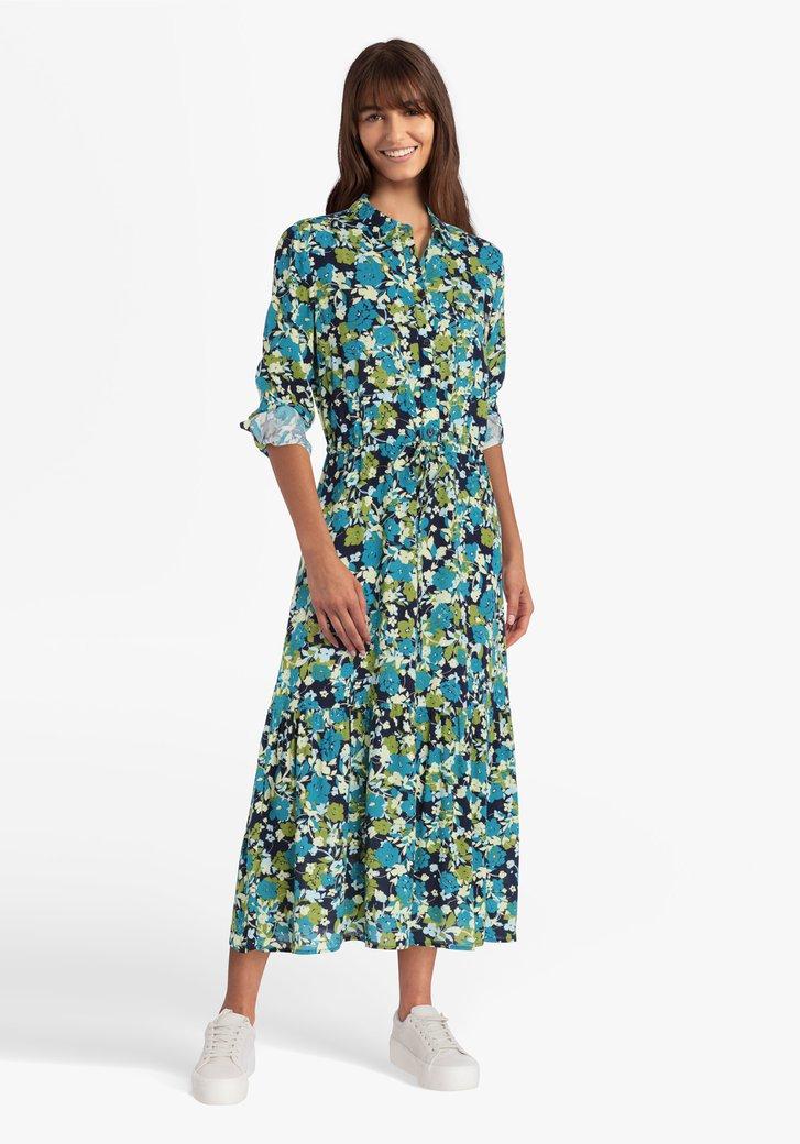 Robe bleu marine avec imprimé floral vert-bleu