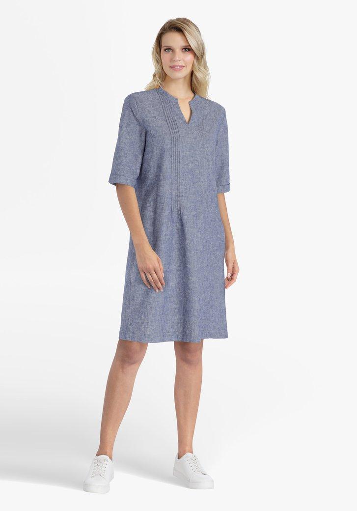 Robe bleue en coton et lin