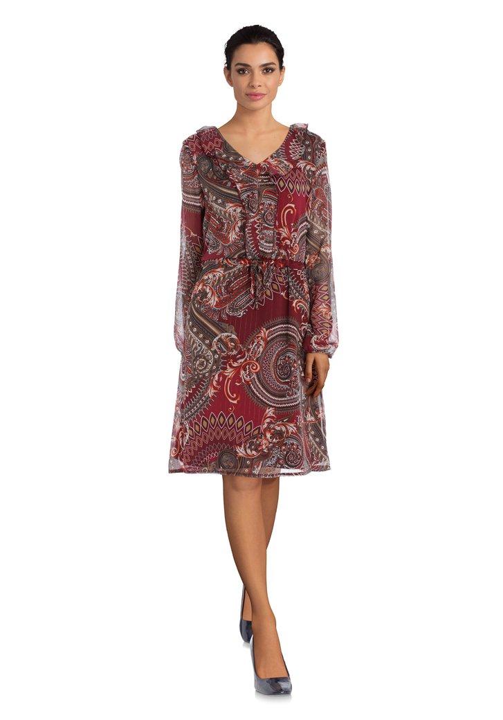Robe bordeaux avec imprimé Paisley et fil d'or