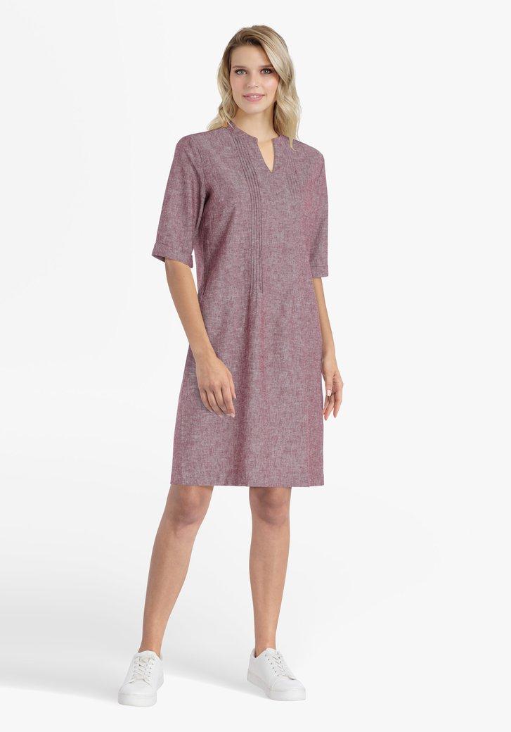 Robe bordeaux en coton et lin