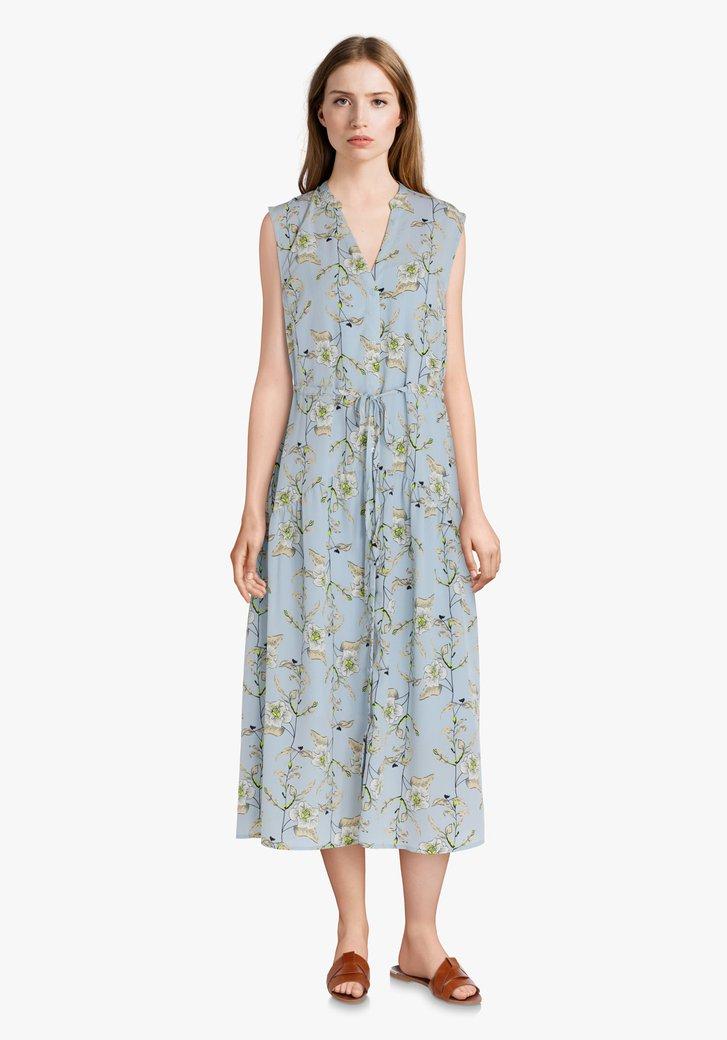Robe chemisier bleu clair à fleurs