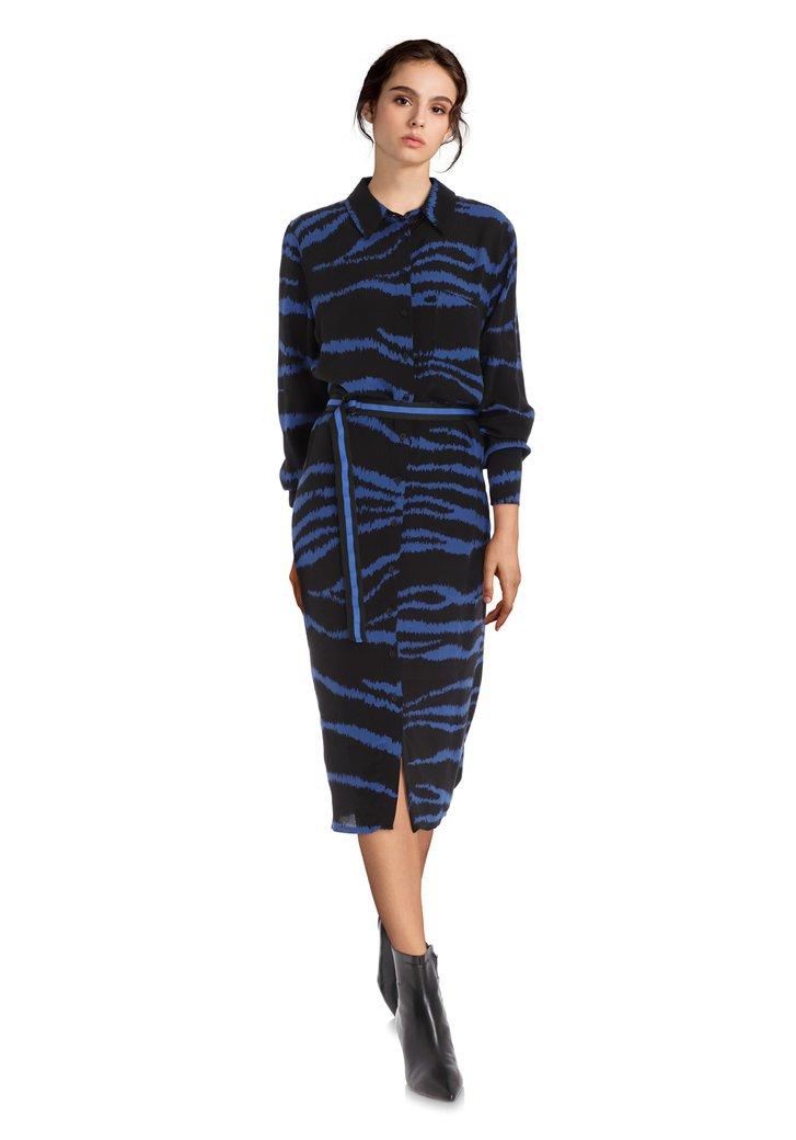 Robe chemisier noire à imprimé bleu roi