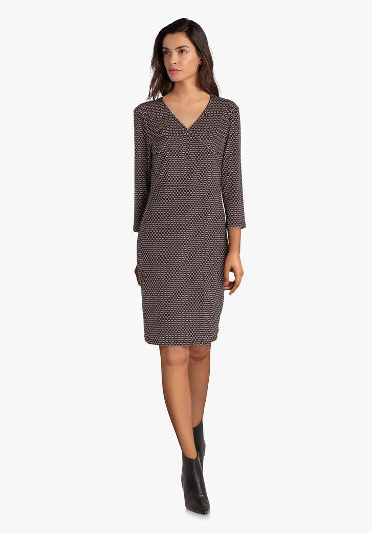 Robe grise à motif géométrique brun