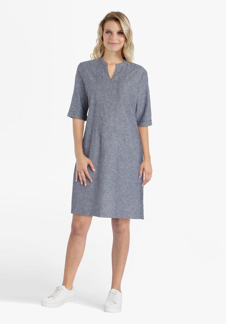 Robe grise en coton et lin