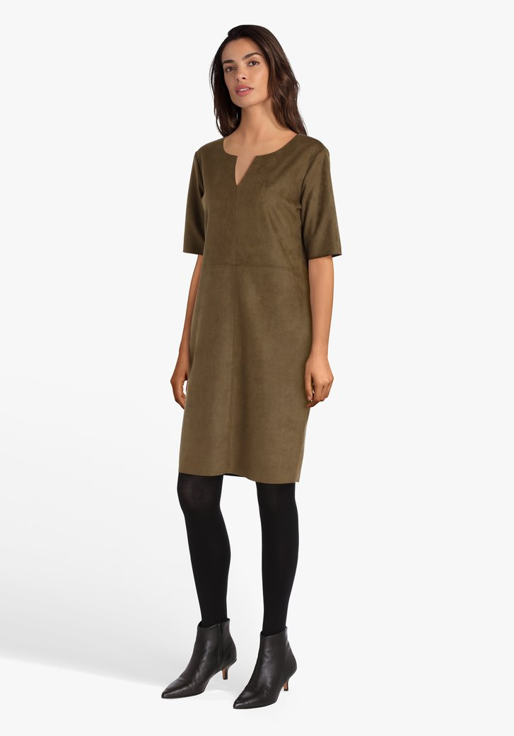 Robe kaki à manches courtes