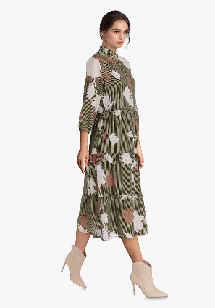 Robe kaki à rayures en tissu texturé