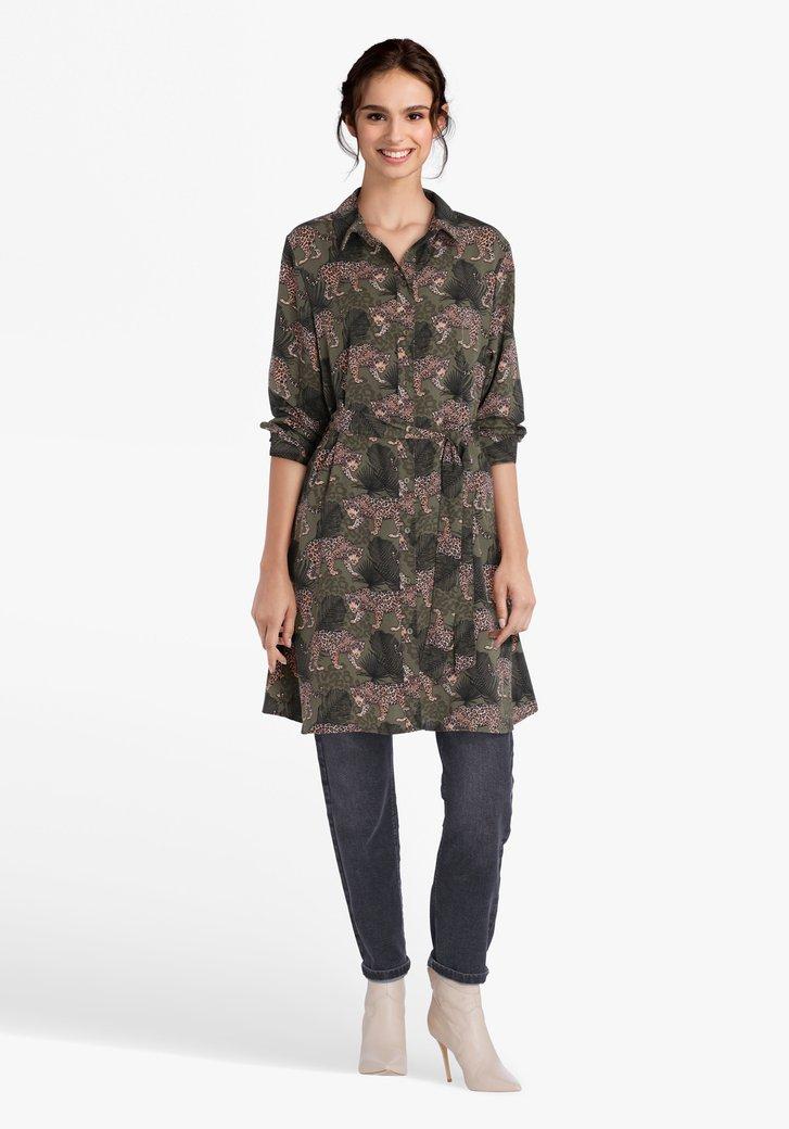 Robe kaki avec imprimé léopard