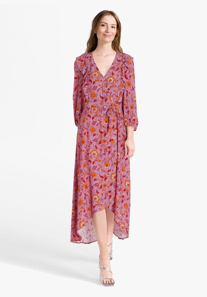 Robe lilas à imprimé floral orange