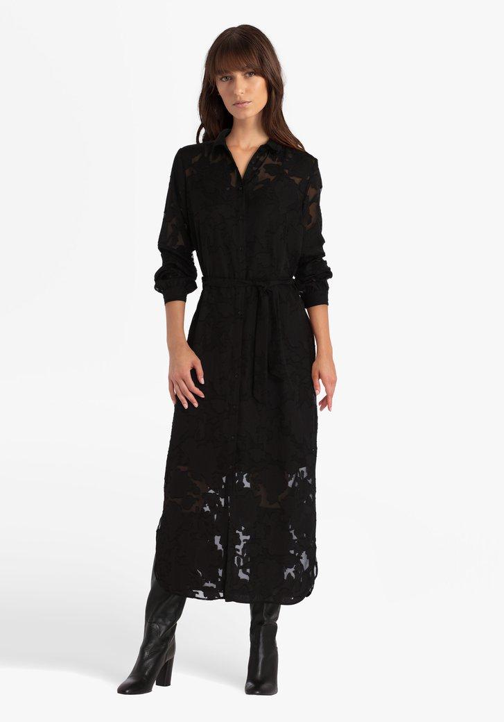 Robe longue noire à fleurs