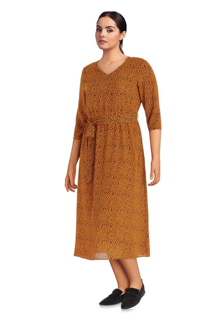 Robe longue orange-brun à pois noirs