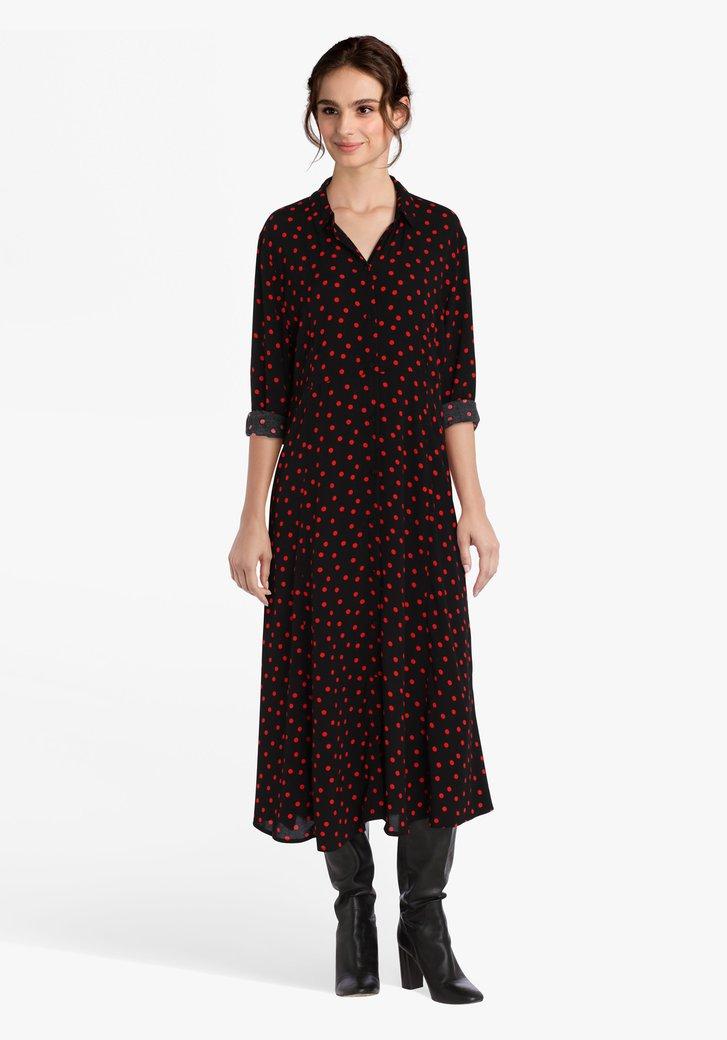 Robe noire à pois rouges