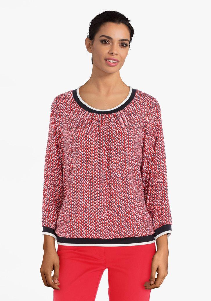 Rode blouse met ecru-navy geometrische print