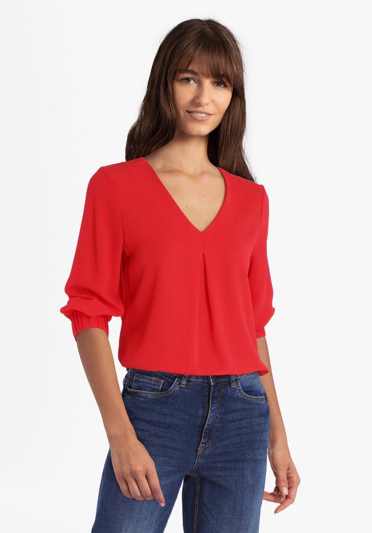 Rode blouse met V-hals en 3/4 mouwen