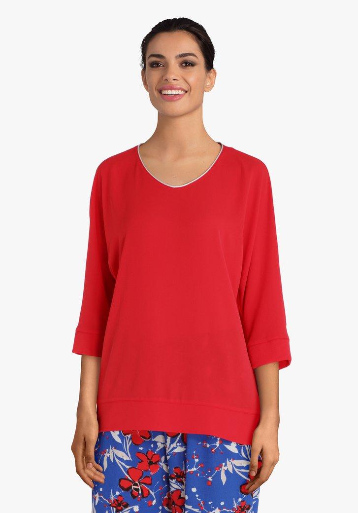 Rode blouse met V-hals en lurex