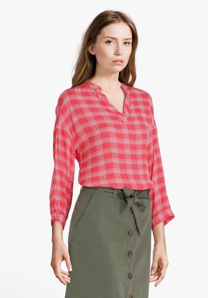 Rode blouse met witte ruiten in viscose