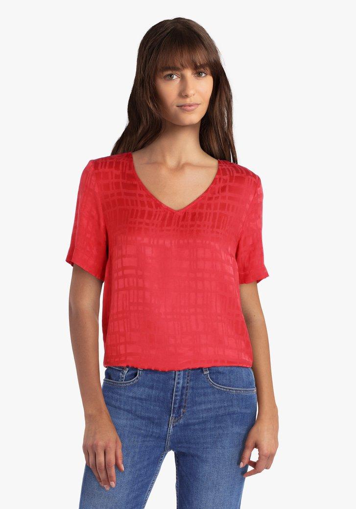 Rode geruite blouse in viscose