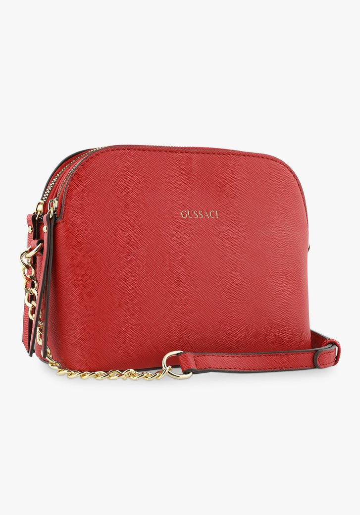 Rode handtas met 3 vakken