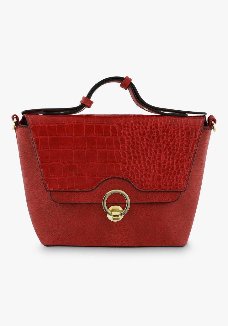Rode handtas met flap en croco dessin