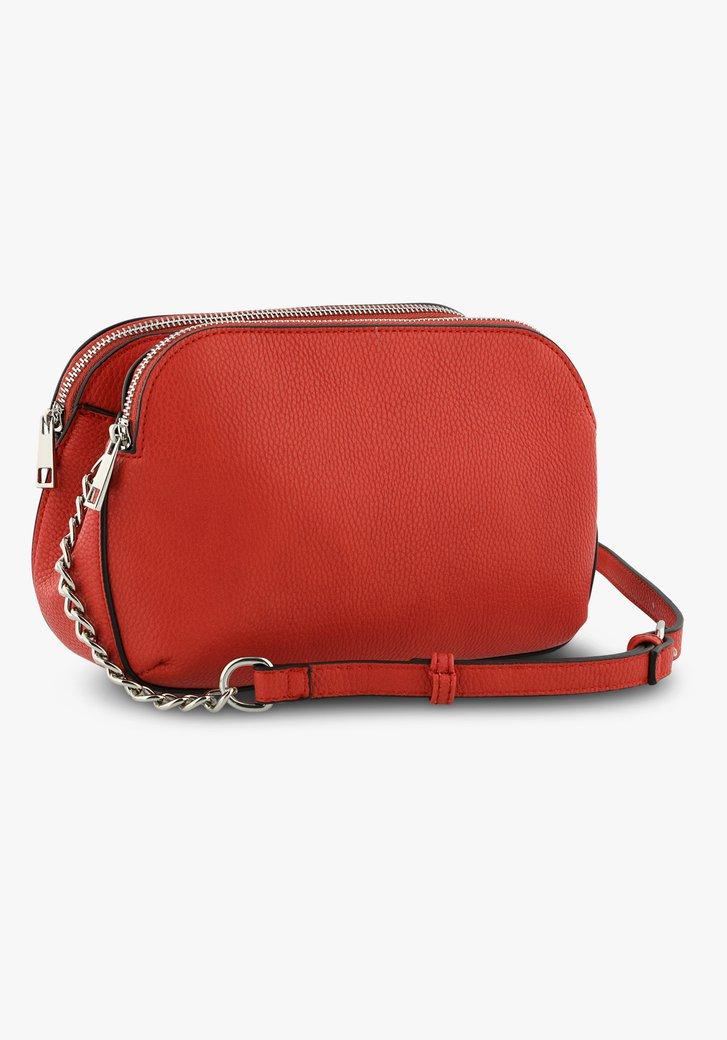 Rode handtas met lederlook - drie vakken