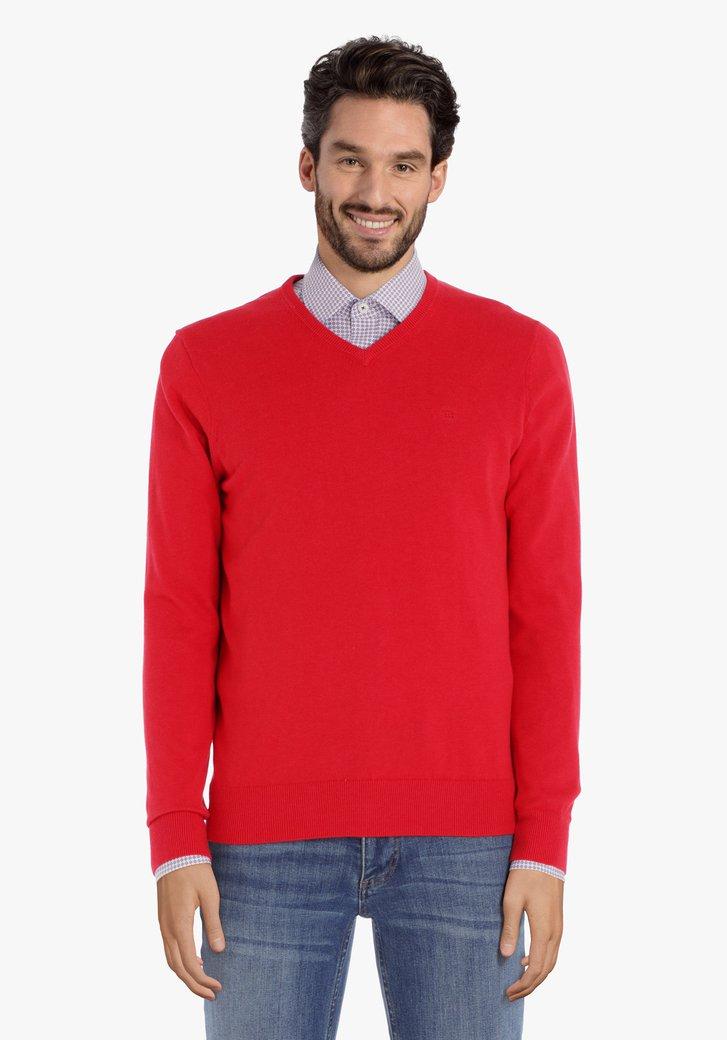 Rode katoenen trui met geribde V-hals