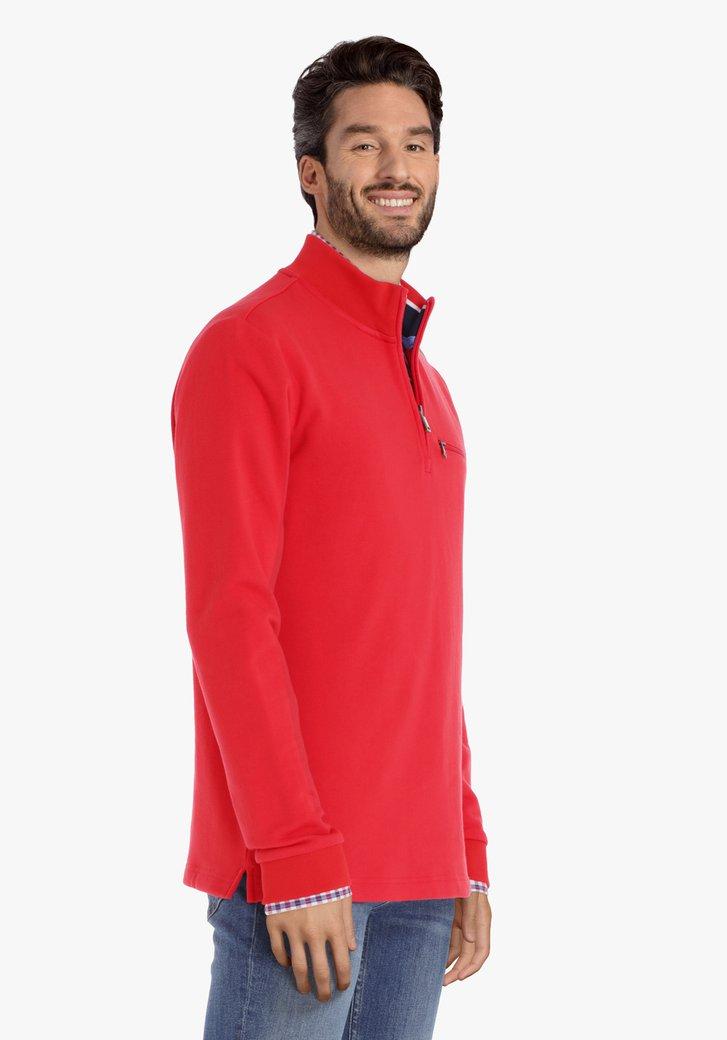 Rode katoenen trui met korte rits