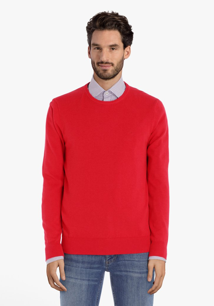 Rode katoenen trui met ronde hals